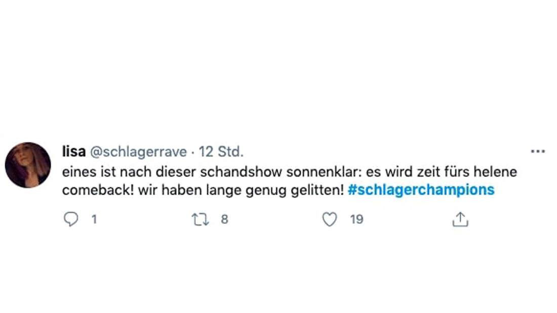 """Twitter-Screenshot von Kommentar zu """"Schlagerchampions 2021"""""""