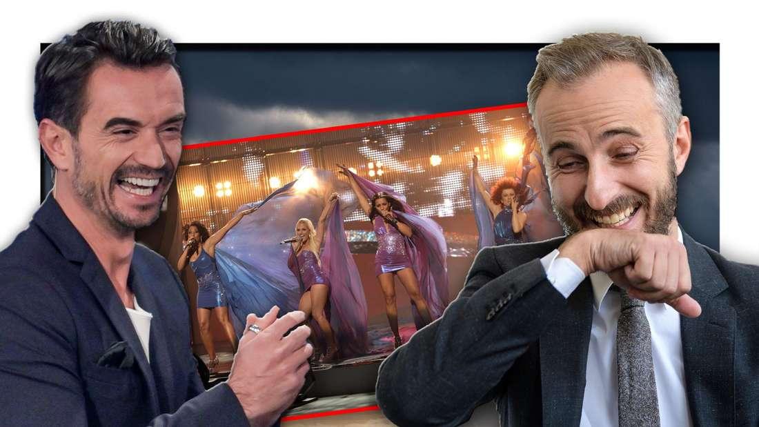 """Die Girlgroup No Angels bei ihrem ESC-Auftritt neben """"Schlagerchampions""""-Moderator Florian Silbereisen und Satiriker Jan Böhmermann (Fotomontage)"""