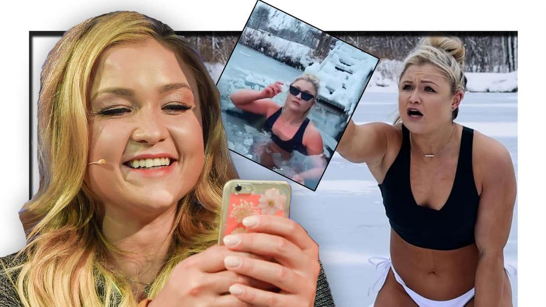 Sophia Thiel lächelt auf ihr Handy, Thiel im Bikini (Fotomontage)