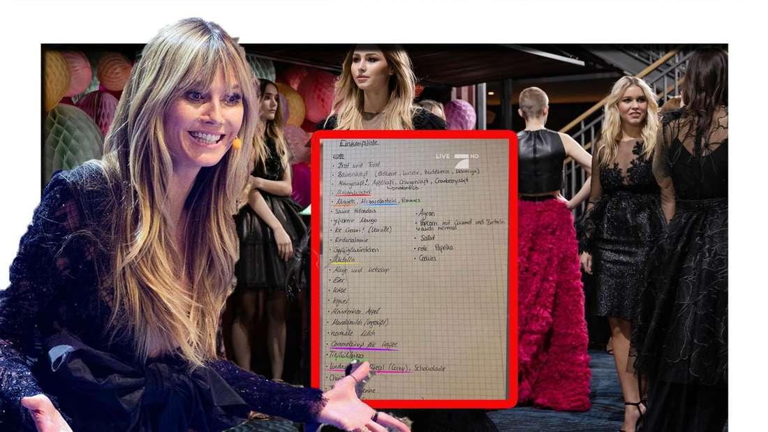 Heidi Klum schaut schräg in die Kamera - neben ihr ist eine Einkaufsliste zu sehen (Fotomontage)