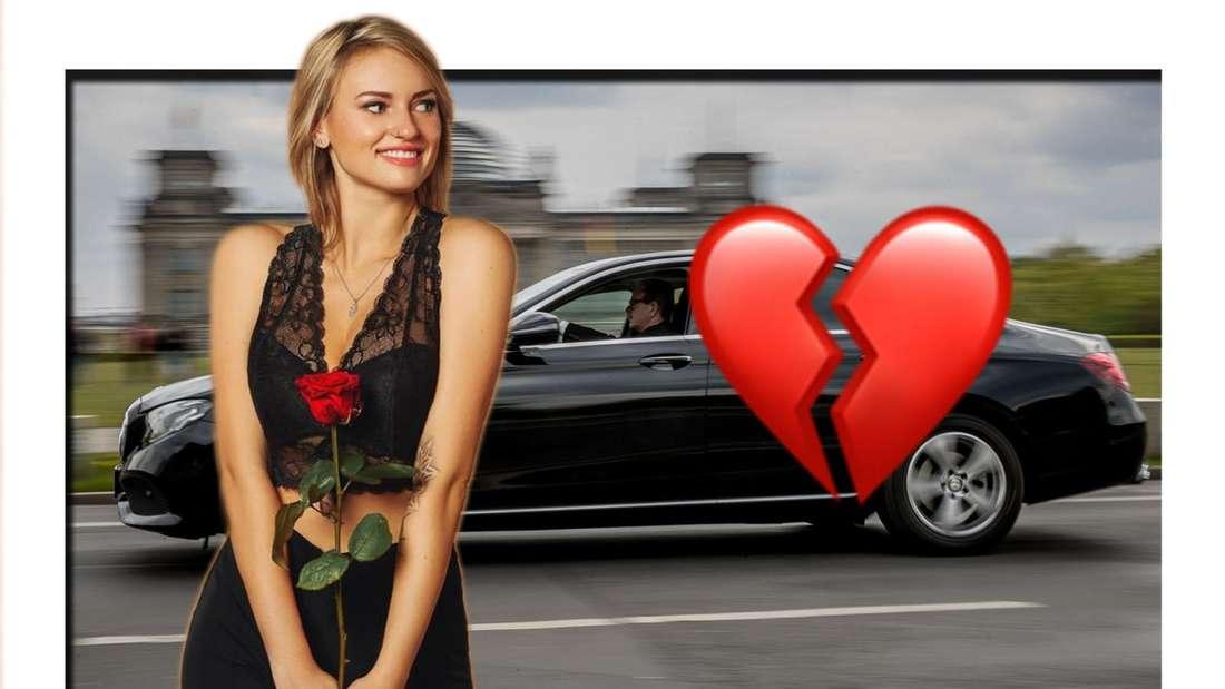 Bachelor Kandidatin Kim-Denise vor Limousine mit gebrochenem Herz Emoji (Fotomontage)