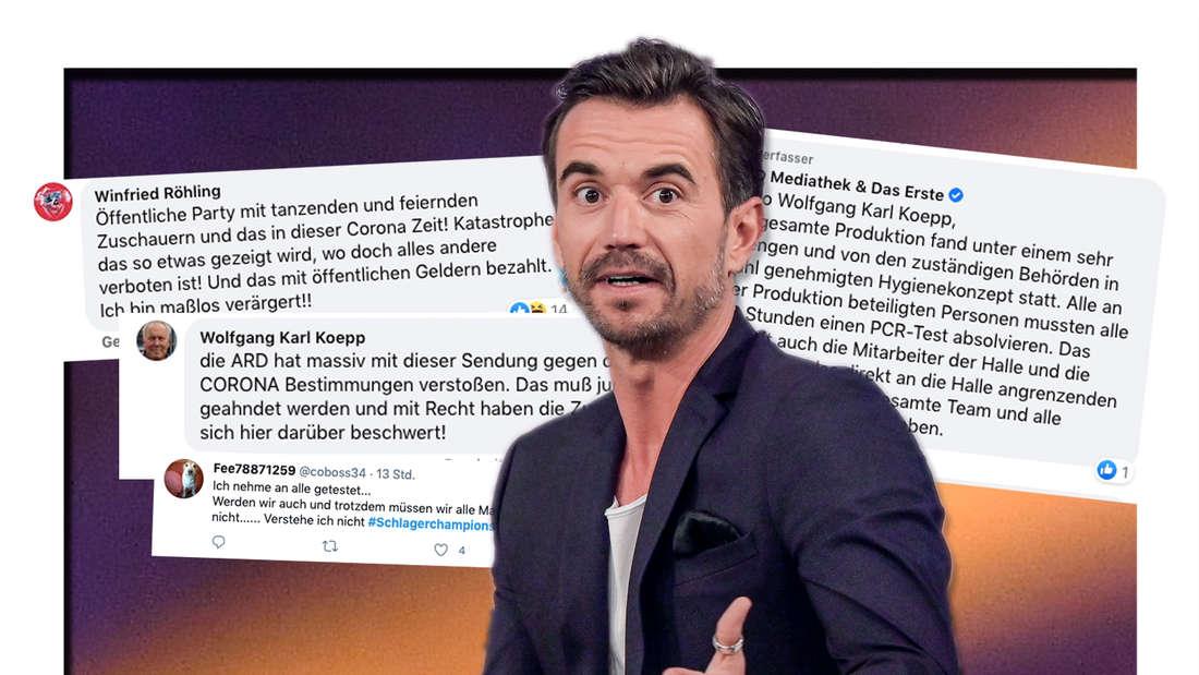 """lorian Silbereisen sitzt bei der Aufzeichnung des großen Jahresrückblicks """"Menschen 2019"""" auf der Bühne. Und: Screenshots von wütenden Facebook-Kommentaren (Fotomontage)"""