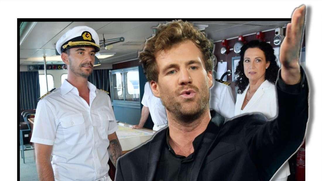 """Luke Mockridge hebt die Hand, im Hintergrund sieht man Florian Silbereisen und die """"Traumschiff""""-Crew (Fotomontage)"""