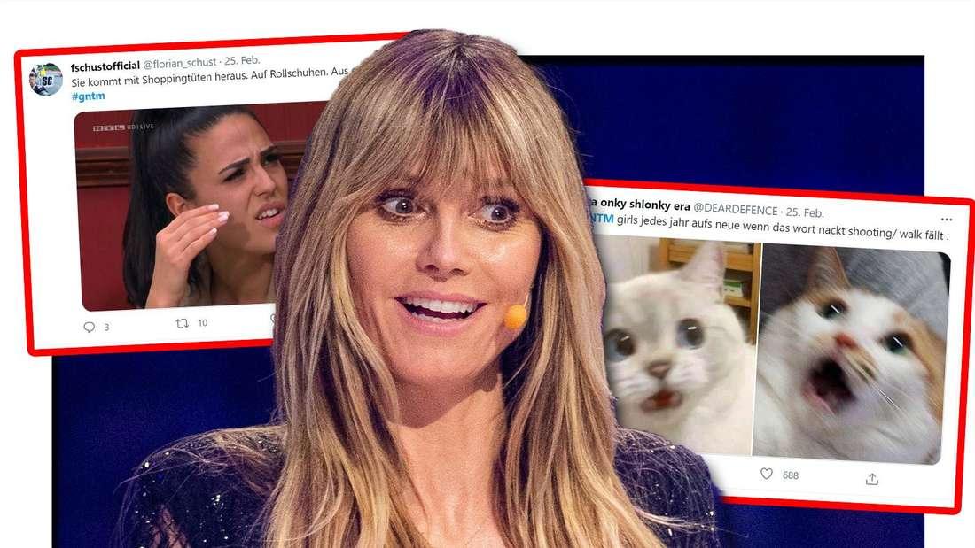 Fotomontage: Heidi Klum in der Mitte, links und rechts ein Twitter-Screenshot