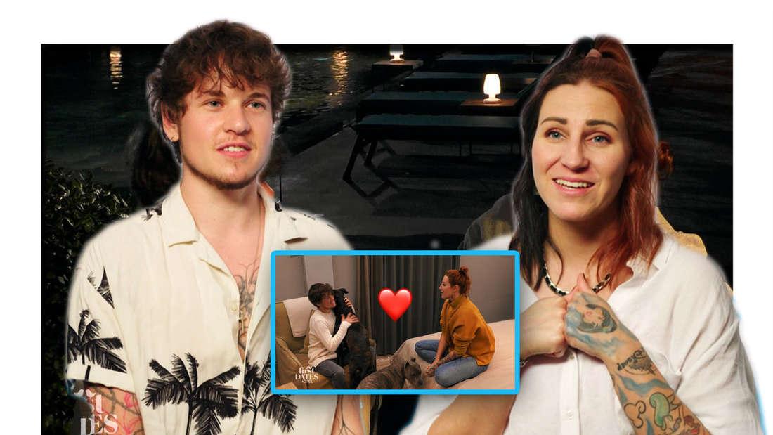 """""""First Dates Hotel"""" Kandidaten Devn und Jeanny bei romantischem Abend am Pool (Fotomontage)"""