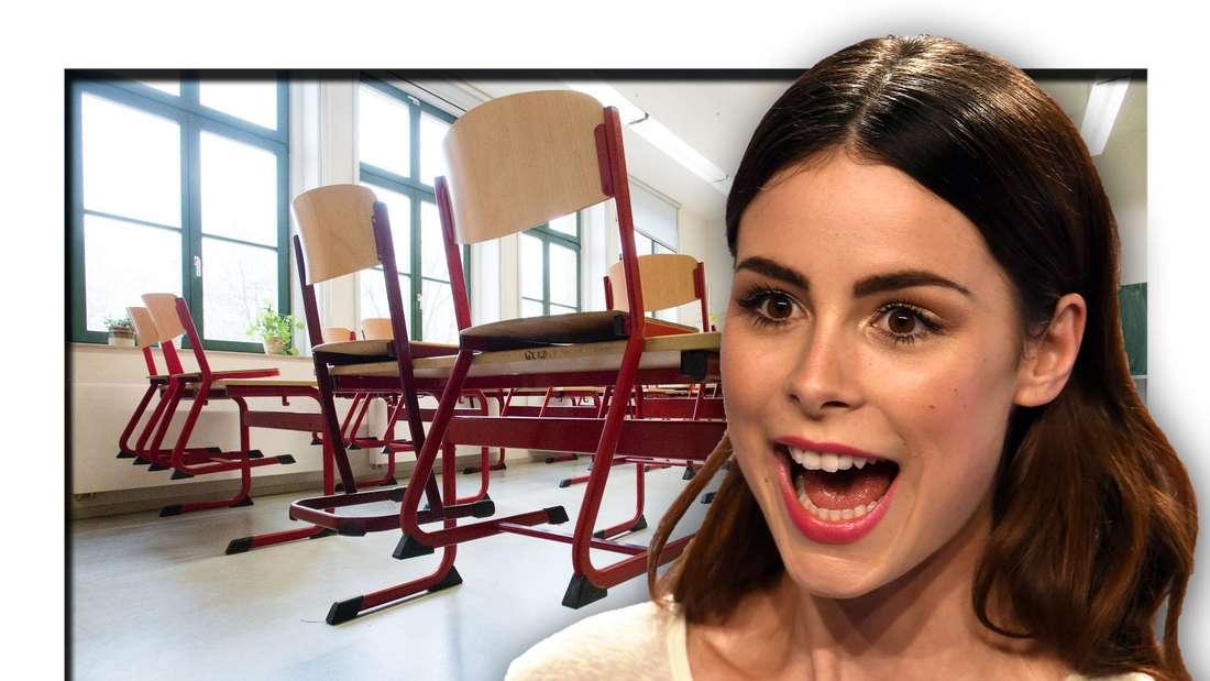 Popsängerin Lena Meyer-Landrut steht vor einem Klassenzimmer (Fotomontage)