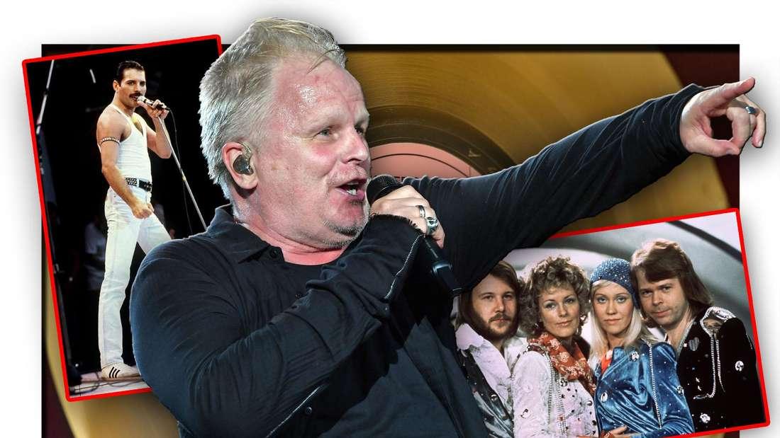 Sänger Herbert Grönemeyer steht zwischen Queen-Frontmann Freddie Mercury und der Pop-Gruppe ABBA vor einer Goldenen Schallplatte (Fotomontage)