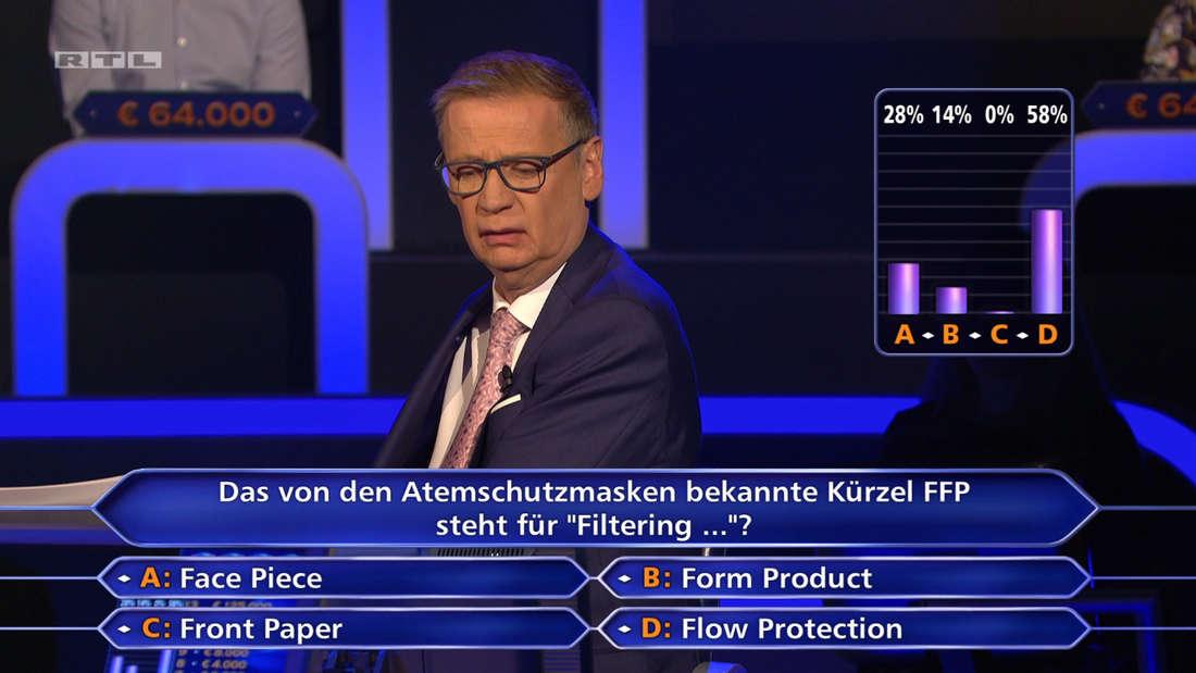 Günther Jauch neben der Frage und Antwortmöglichkeiten, außerdem das Abstimmungsergebnis