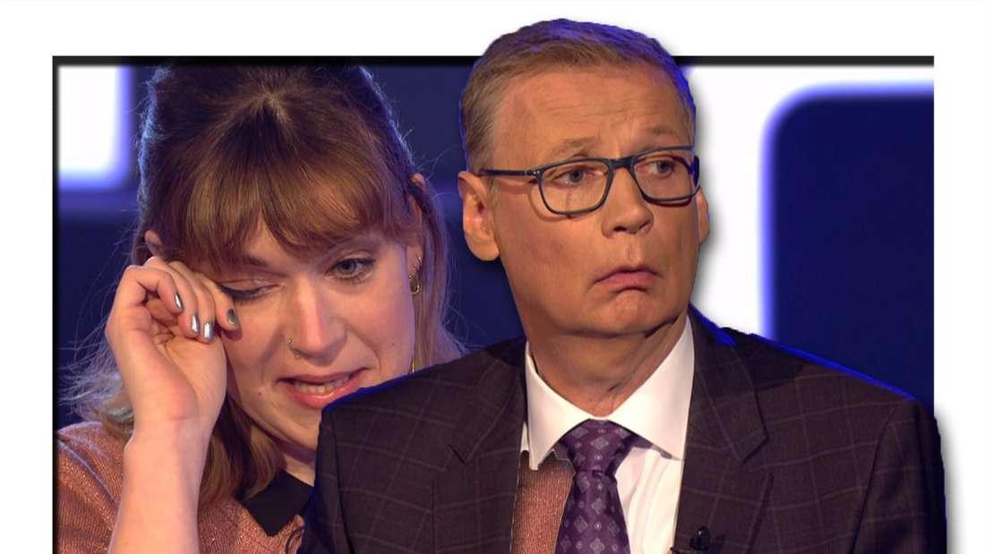 Fotomontage: Günther Jauch vorne, hinten links die Kandidatin, die sich eine Träne wegwischt