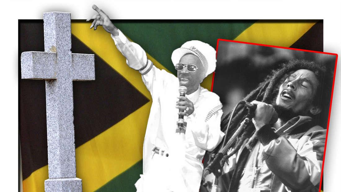 Reggae-Pionier Bunny Wailer steht vor der jamaikanischen Flagge zwischen Bob Marley und einem Grabstein (Fotomontage)
