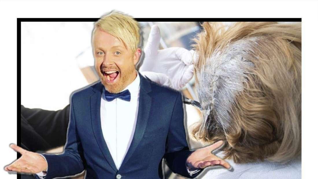 Ross Anthony breitet lächelnd die Arme aus - im Hintergrund sieht man einen Friseur bei der Arbeit (Fotomontage)
