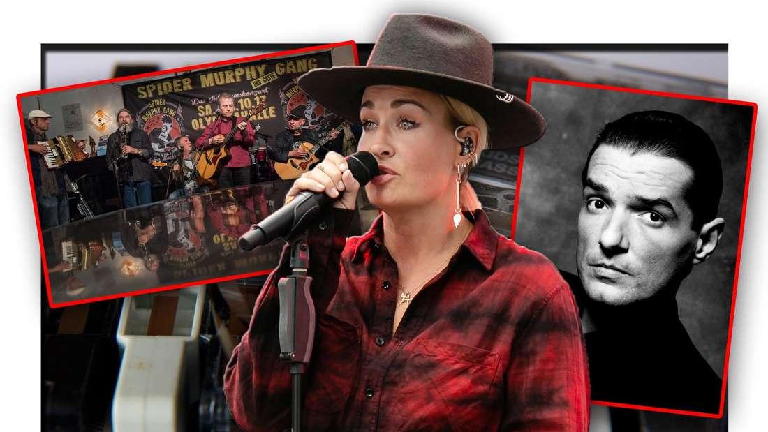 Sarah Connor, die Spider Murphy Gang und Falco vor mehreren Kassetten (Fotomontage)