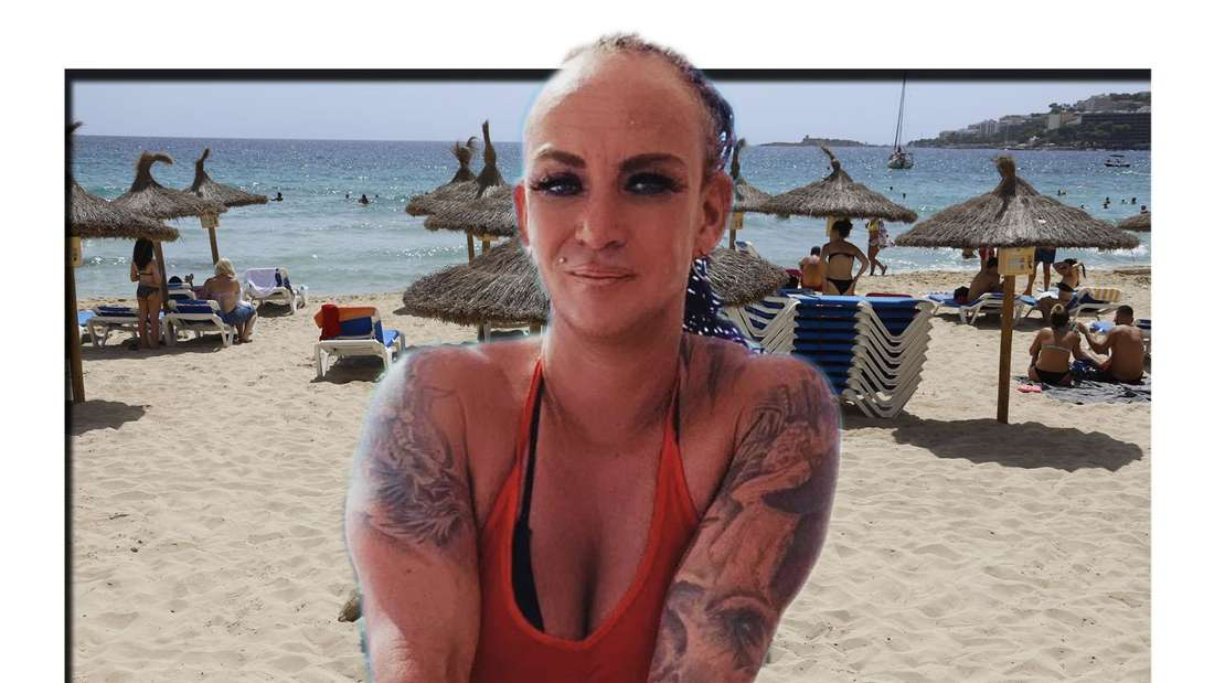 Goodbye Deutschland: Caro Robens schaut in die Kamera, im Hintergrund der Strand von Mallorca (Fotomontage)