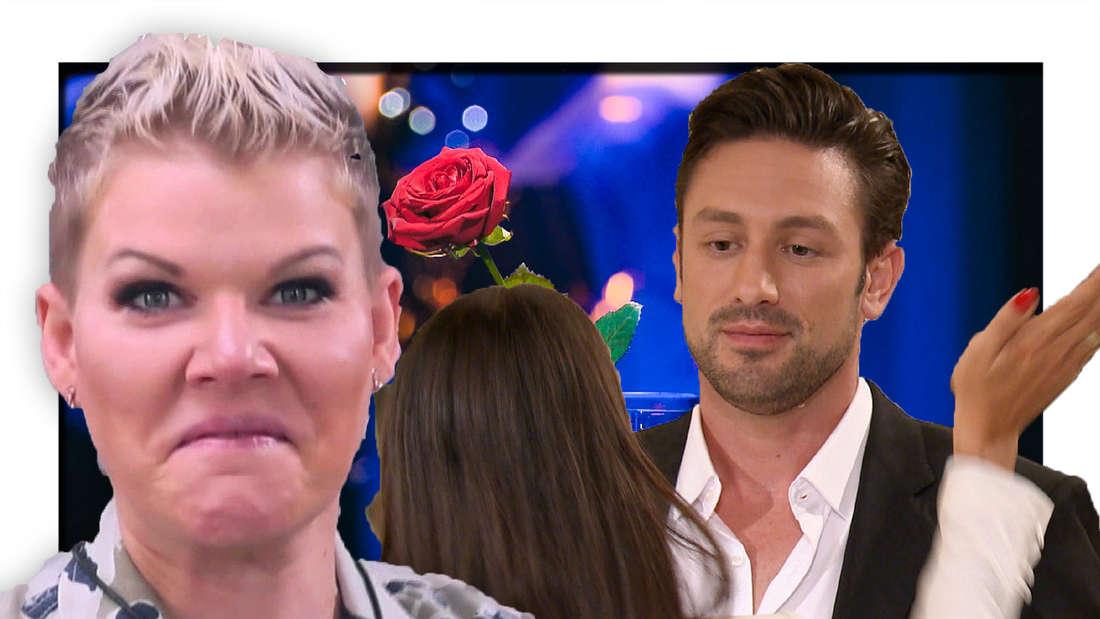Melanie Müller zieht eine Grimasse, Yeliz gibt Bachelor Daniel eine Schelle (Fotomontage)