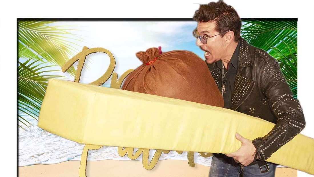 """Fotomontage: Der Currywurstmann Chris Töpperwien vor dem Logo von """"Promis unter Palmen"""""""