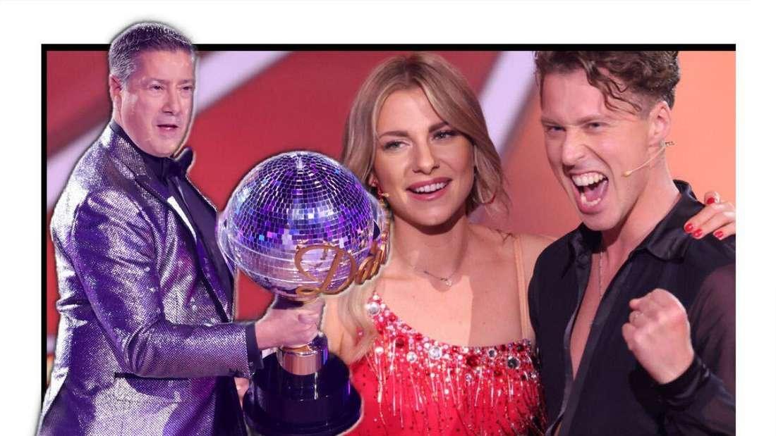 """Joachim Llambi hält den """"Let's Dance""""-Pokal in den Händen, hinter ihm sind Valentina Pahde und Valentin Lusin zu sehen (Fotomontage)"""