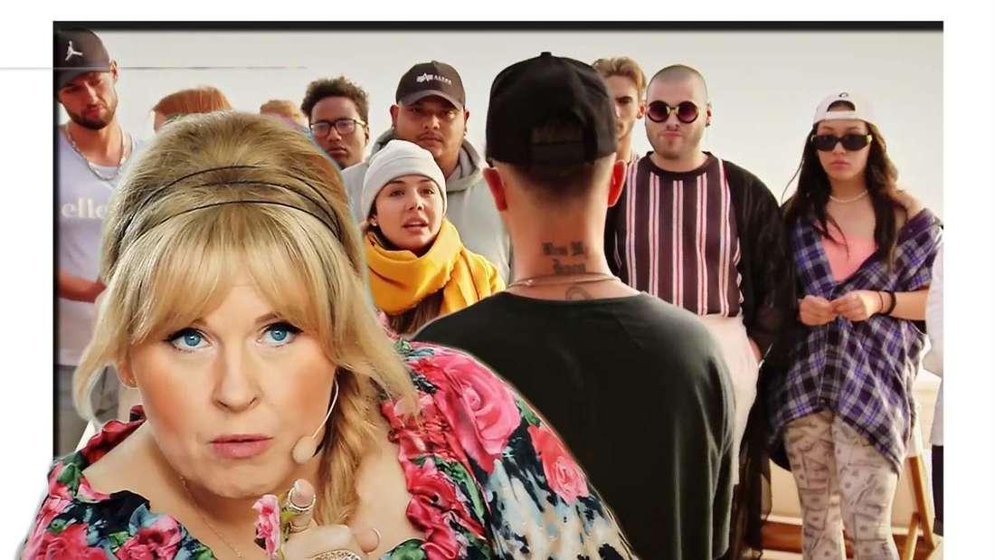 Fotomontage: DSDS-Jurorin Maite Kelly vor einem Hintergrund mit Kandidaten, dabei Mike Singer und Katharina Eisenblut diskutierend