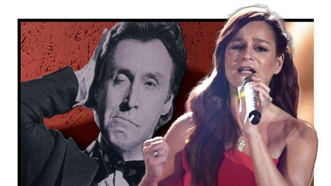 Andrea Berg singt in ein Mikrofon - im Hintergrund sieht man Schlagersänger Peter Alexander (Fotomontage)