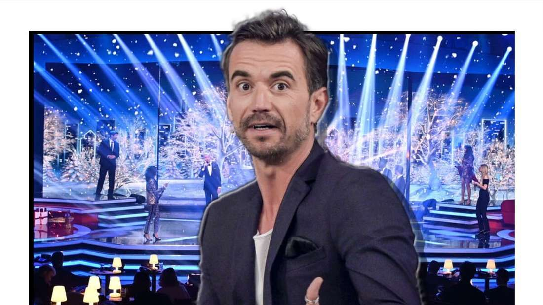Florian Silbereisen breitet die Hände aus - im Hintergrund sieht an eine Showbühne (Fotomontage)