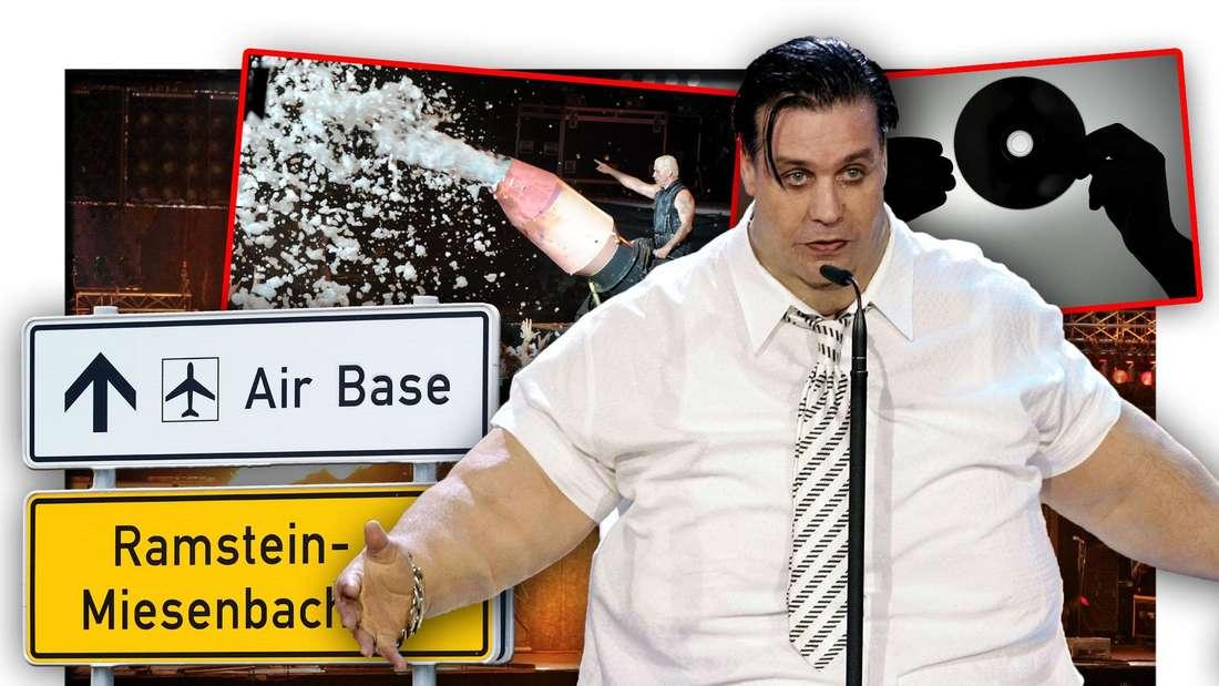 Rammstein-Frontmann Till Lindemann steht in einem Fatsuit neben dem Schild der Ramstein Air Base, darüber ein Auftritt der Band und eine CD (Fotomontage)