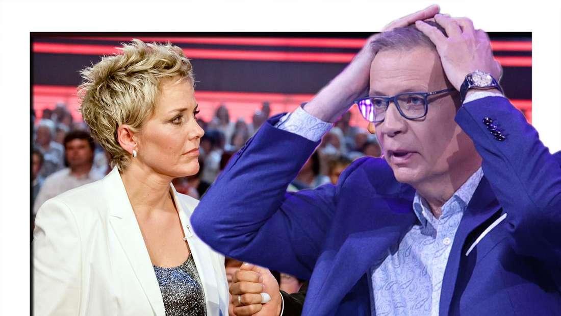 """""""Wer wird Millionär"""": Inka Bause blamiert sich vor Günther Jauch ausgerechnet bei einer Kuh-Frage. (Fotomontage)"""