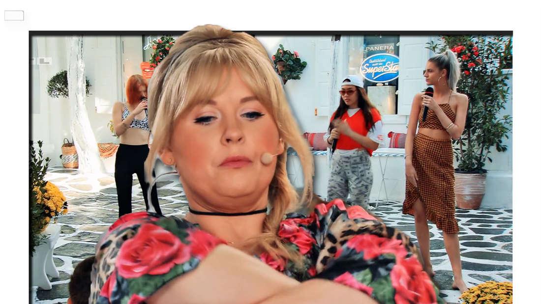 Fotomontage: Maite Kelly verschränkt die Arme und schmollt, im Hintergrund vier DSDS-kandidatinnen