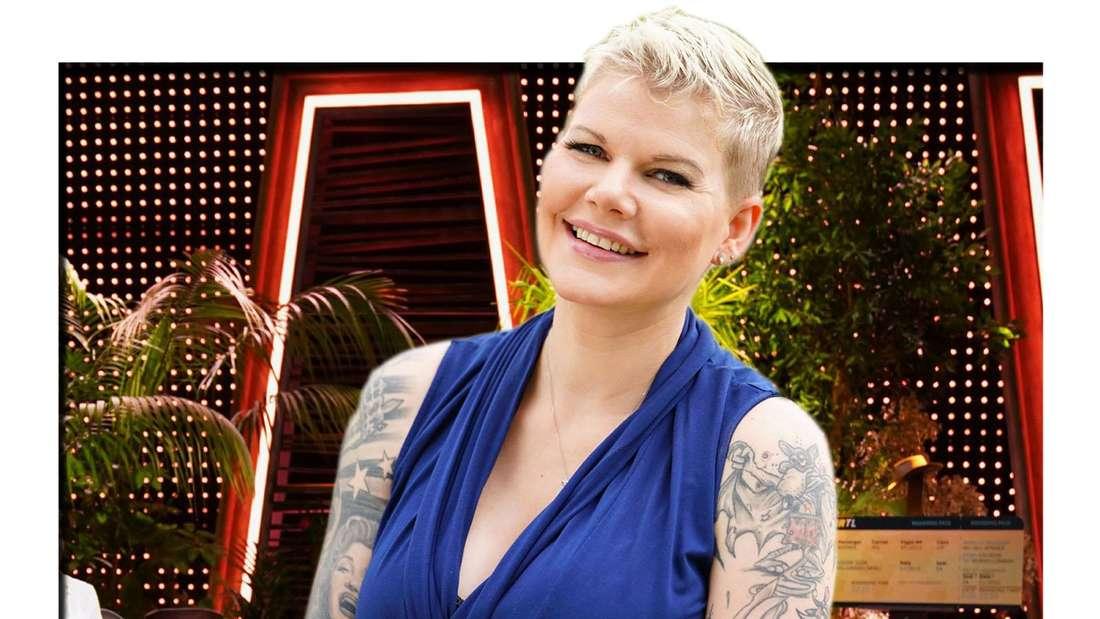 Fotomontage: Ballermann Sängerin Melanie Müller vor Dschungelcamp-Show Hintergrund