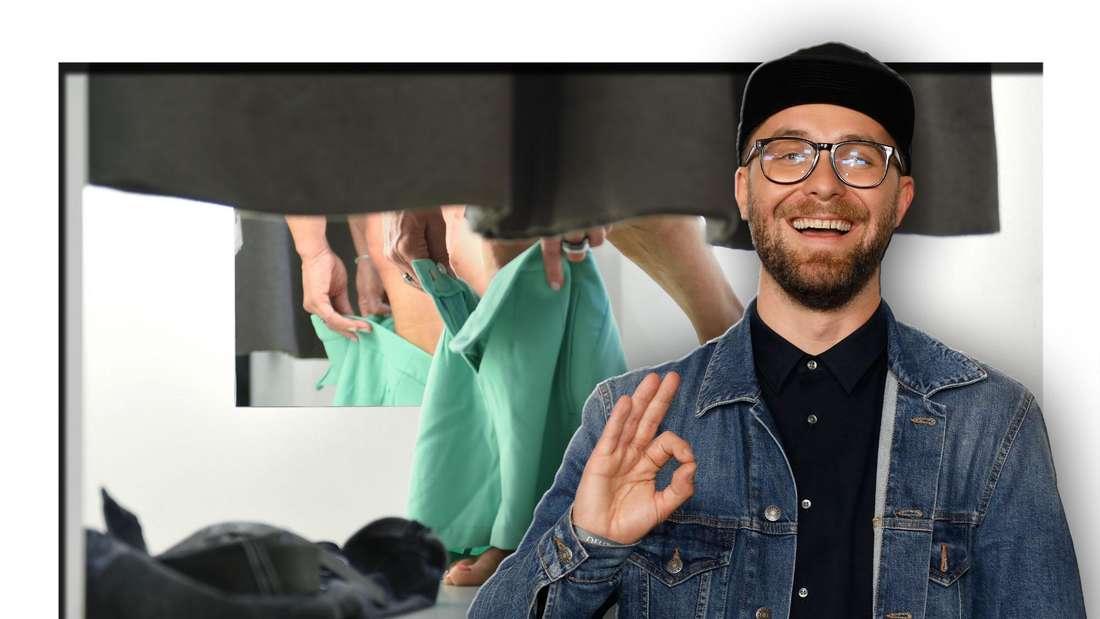 Popsänger Mark Forster steht vor einer Umkleidekabine (Fotomontage)