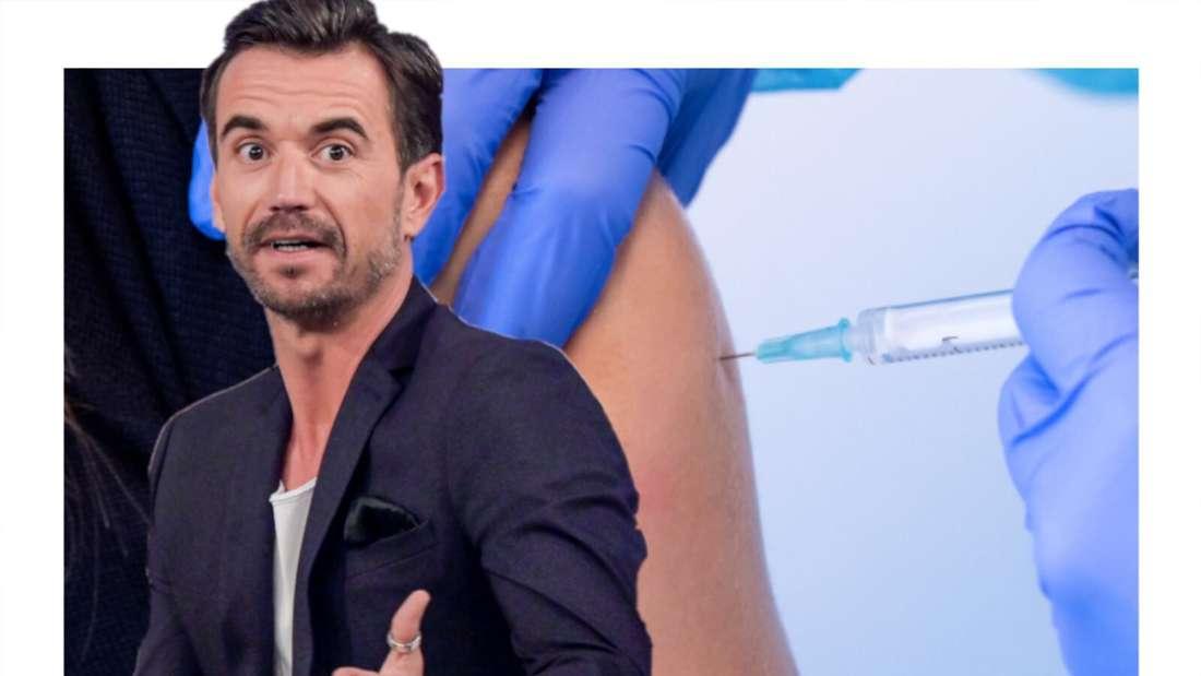 Florian Silbereisen schaut fragend, neben ihm eine Spritze die in einen Oberarm zum impfen sticht. (Fotomontage)