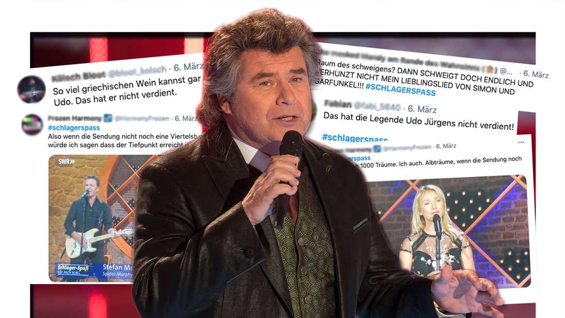 """Andy Borg singt am 17.11.2017 in Suhl bei der Aufzeichnung der """"Großen Show der Weihnacht"""". Twitter-Screenshots von """"Schlager-Spaß mit Andy Borg. (Fotomontage)"""