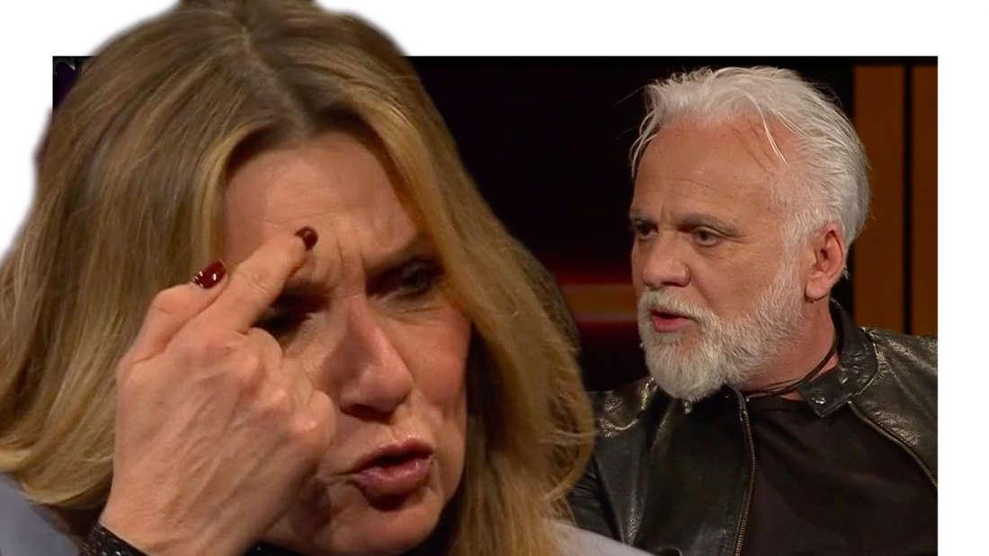 """""""Riverboat""""-Moderatorin Kim Fisher ist sauer auf Nino de Angelo und zeigt ihm vor laufender Kamera den Vogel. (Fotomontage)"""