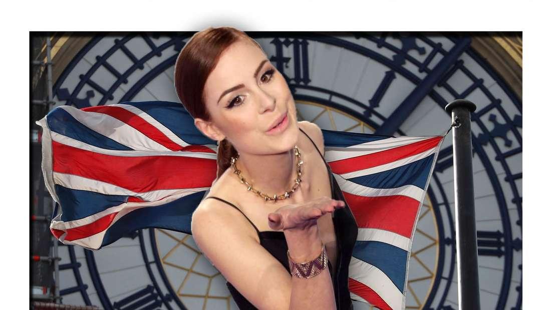 Lena Meyer-Landrut vor der Uhr des Londoner Big Ben und dem Union Jack, der Flagge Großbritanniens (Fotomontage)