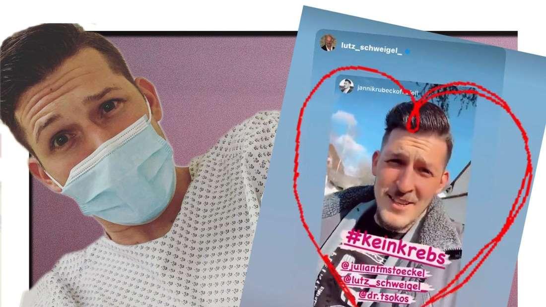 Fotomontage: Jannick Rubeck mit Maske und Instagram Story Screenshot