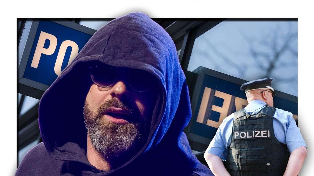 Rapper Sido steht neben einem Polizisten vor einem Polizeirevier (Fotomontage)