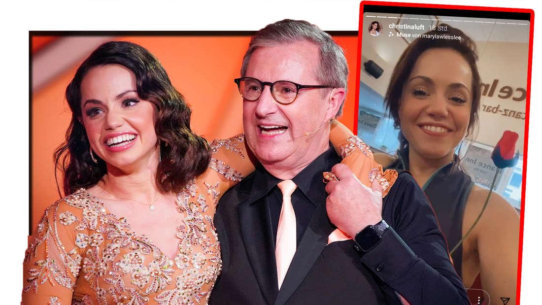 Fotomontage: Jan Hofer und Christina Luft Arm in Arm, daneben ein Screenshot der Instastory, Christina hält eine Rose in der Hand