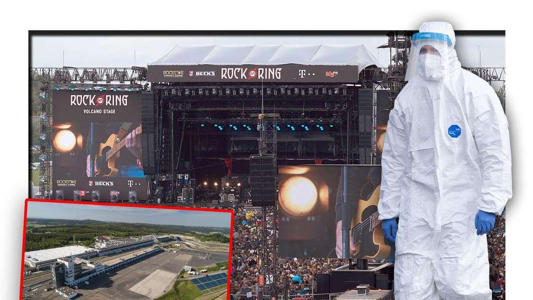 """Eine Person in Corona-Schutzanzug steht vor dem Gelände des Festivals """"Rock am Ring"""" (Fotomontage)"""