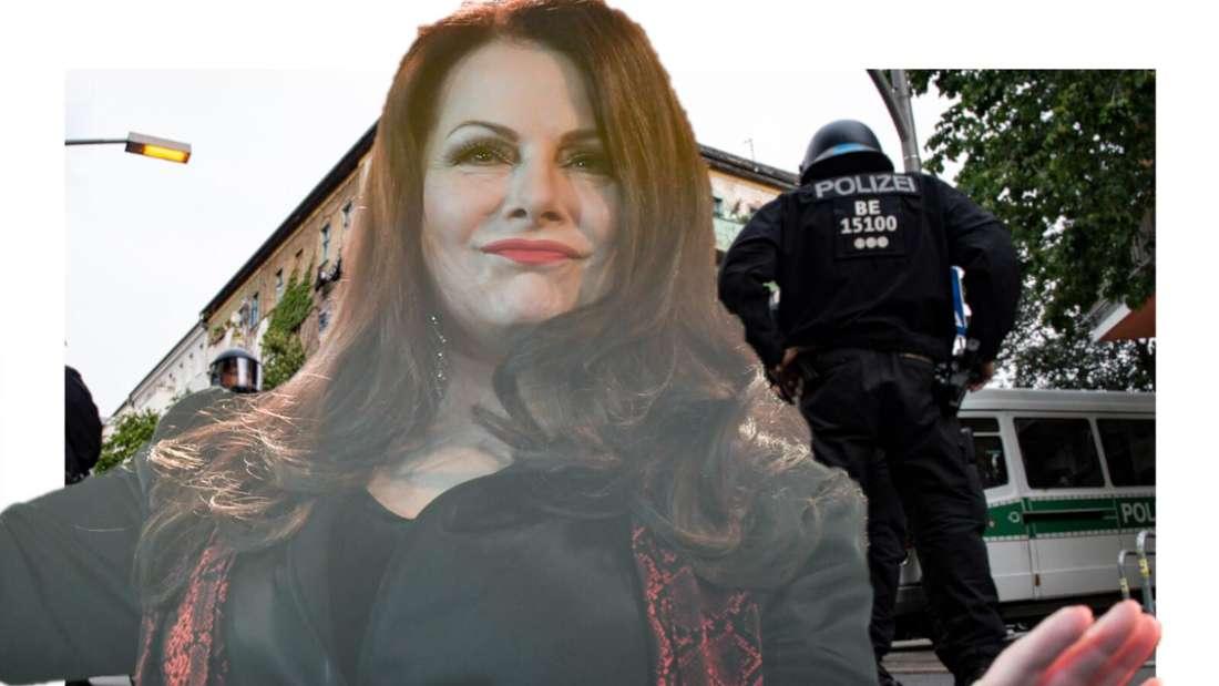 Marianne Rosenberg schaut herausfordernd, im Hintergrund die Polizei, die ein Haus stürmen wollen (Fotomontage)