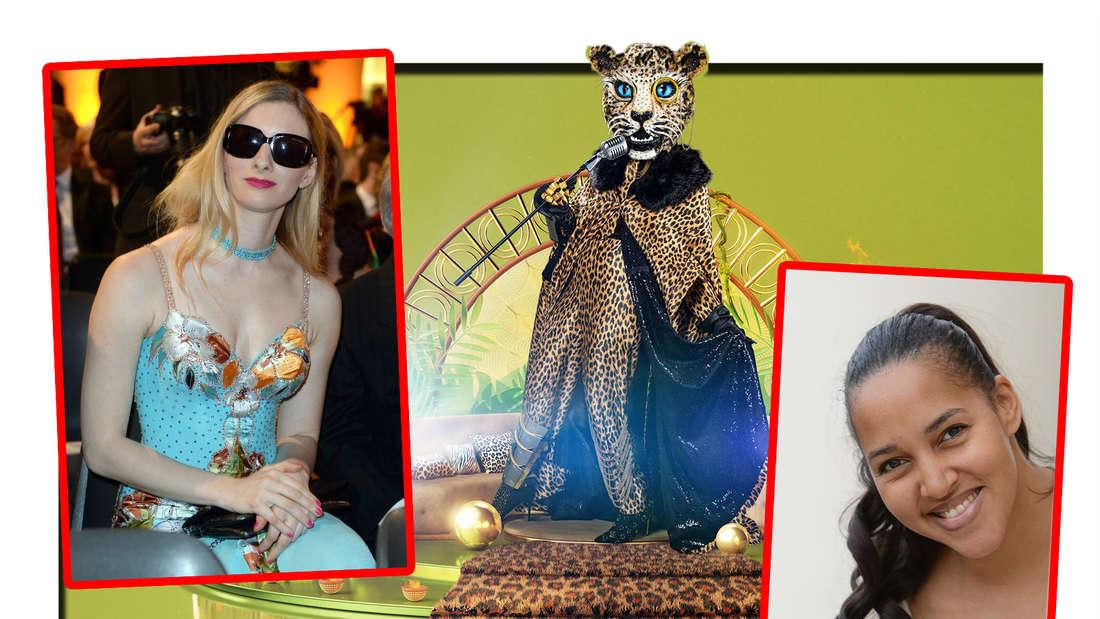 Fotomontage: Der Leopard in der Mitte, rechts Cassandra Steen, links Joana Zimmer