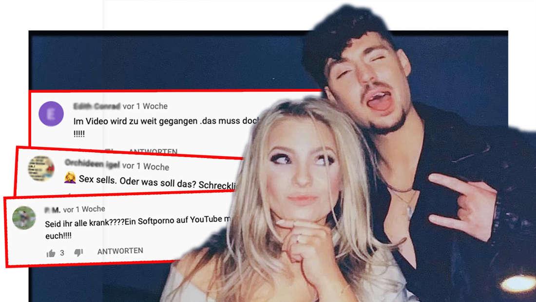 """Schlagersänger Marina Marx und Karsten Walter. Daneben: YouTube-Screenshots unter dem Musikvideo von """"Fahr zur Hölle"""". (Fotomontage)"""
