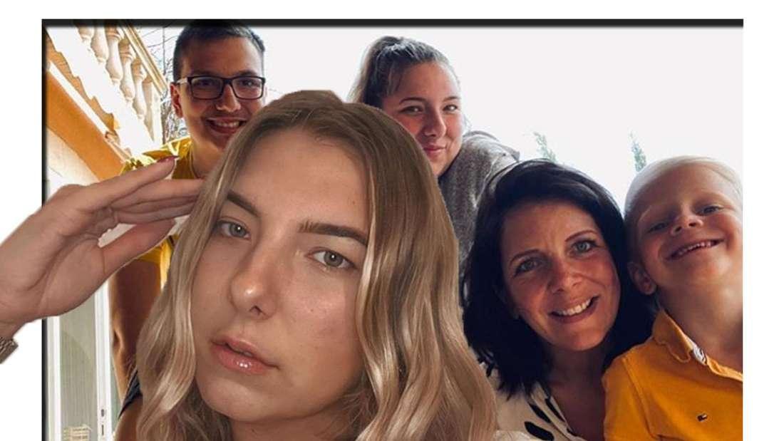 Joelina schaut in die Kamera - im Hintergrund sieht man ihrer Mutter gemeinsam mit ihren Geschwistern. (Fotomontage)