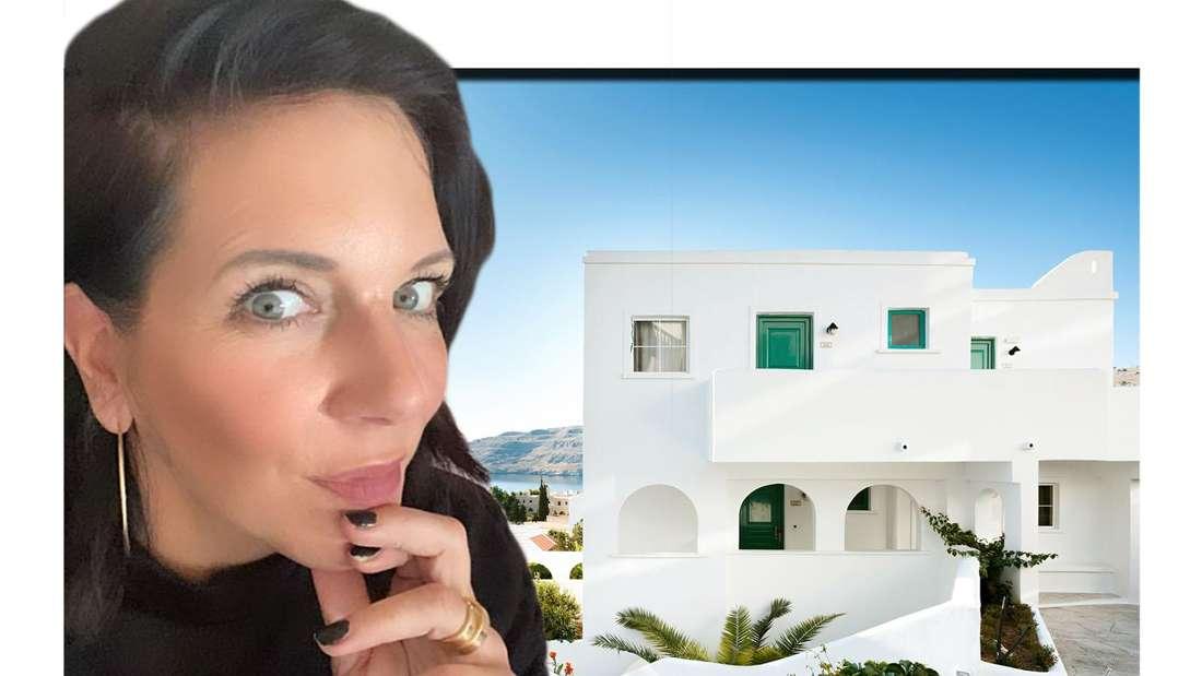 Fotomontage: Danni Büchner guckt nachdenklich vor weißer Villa