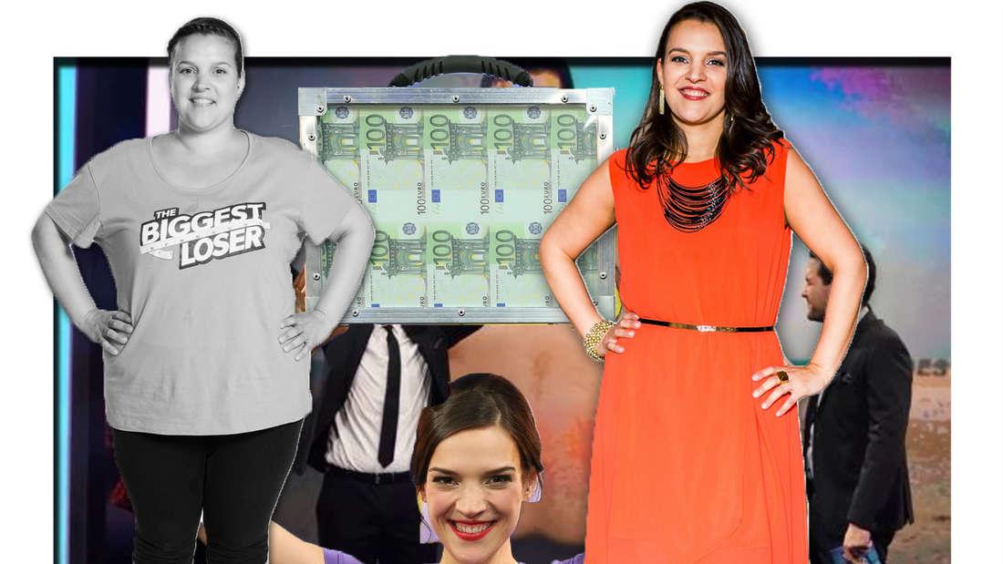 Alexandra vor und nach Show, sie hält ein Koffer Geld in den Händen (Fotomontage)