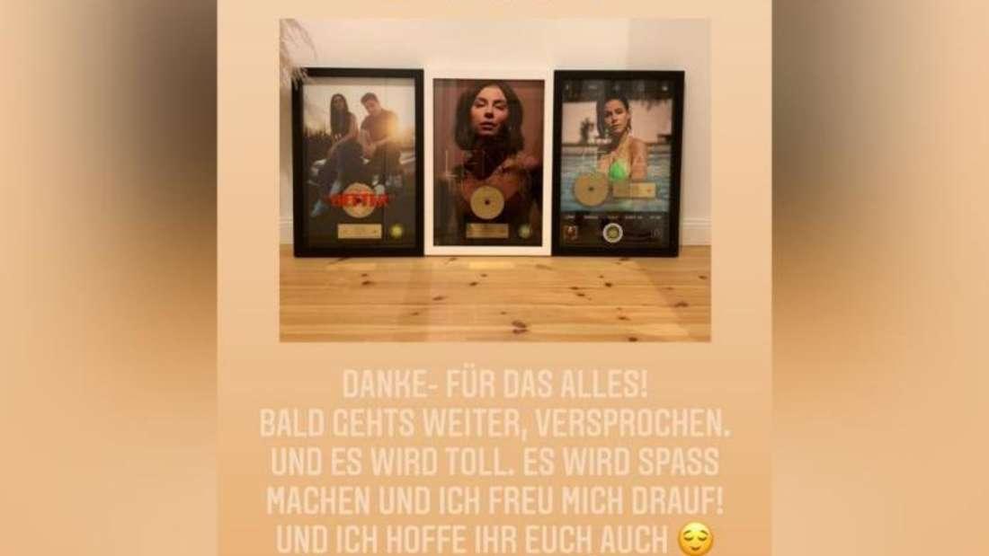 Instagram-Story von Lena Meyer-Landrut, in welcher sie drei ihrer Goldenen Schallplatten zeigt