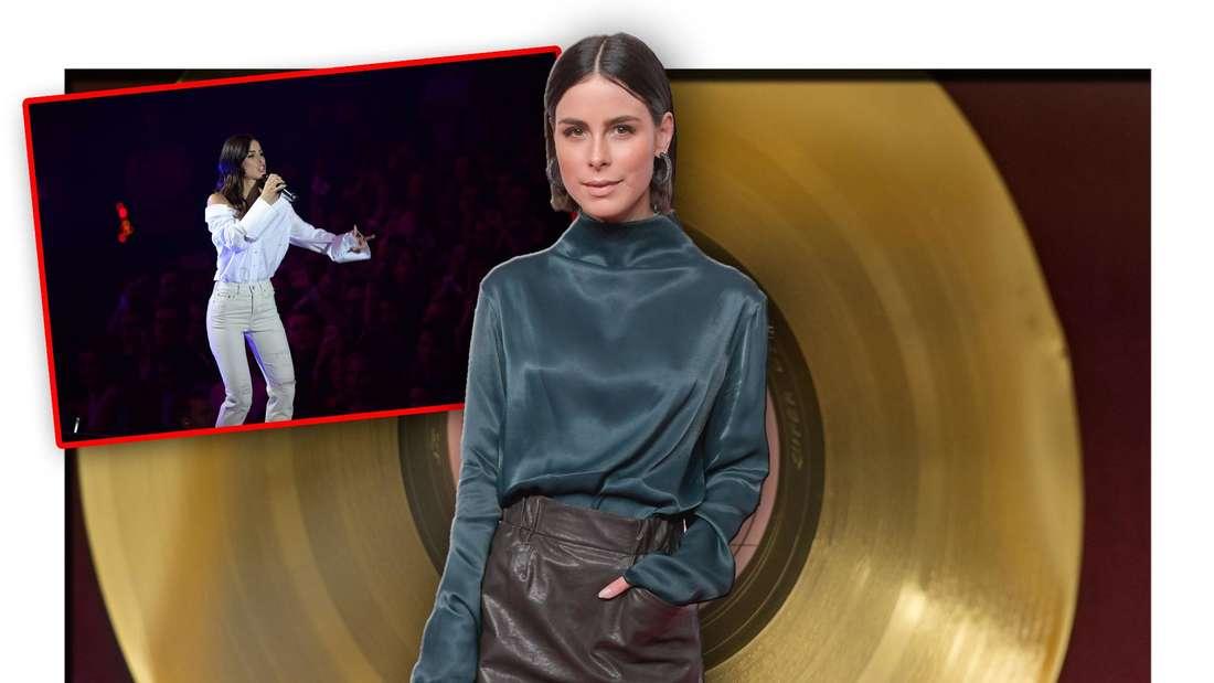 Lena Meyer-Landrut steht vor einer Goldenen Schallplatte, daneben ein Foto des Popstars bei einem Konzert (Fotomontage)