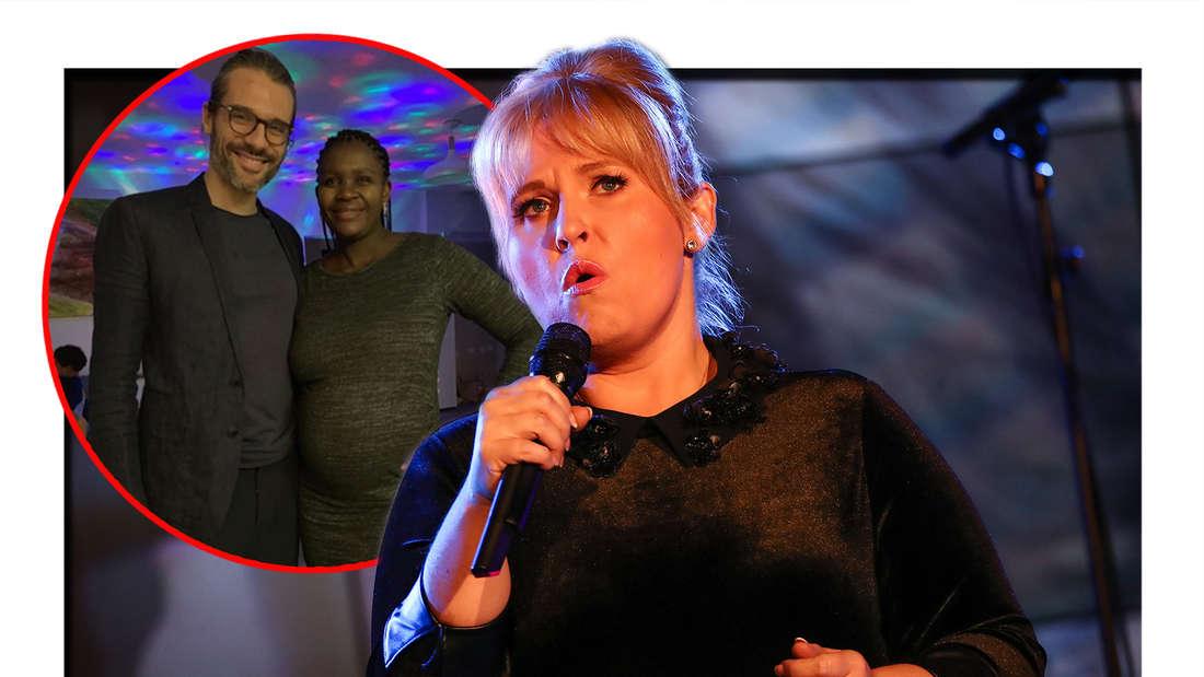 """Schlagersängerin Maite Kelly singt bei der SWR4 Veranstaltung """"Gläserne Vier"""" in der SpardaWelt. Florent Raimond und seine neue Freundin Kaone Mabina. (Fotomontage)"""