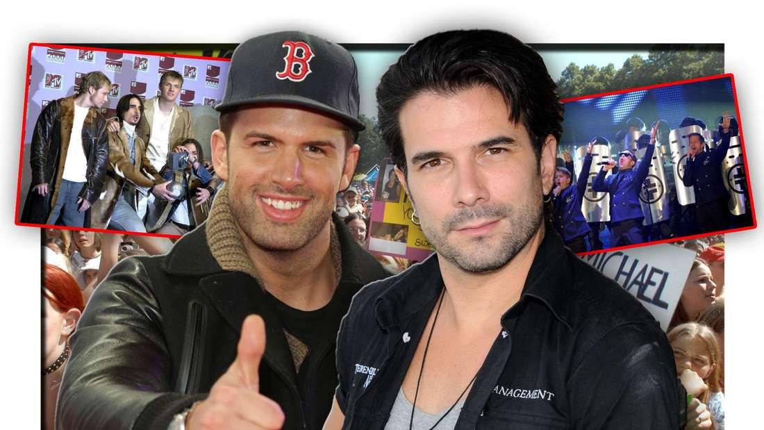 Marc Terenzi und Jay Khan stehen vor Boygroup-Fans, daneben Fotos von Take That und den Backstreet Boys (Fotomontage)