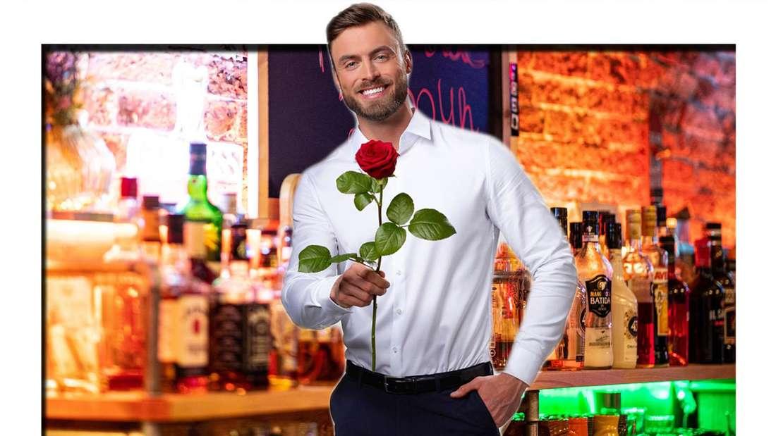 Fotomontage: Der Bachelor Niko Griesert steht mit Rose vor Bar