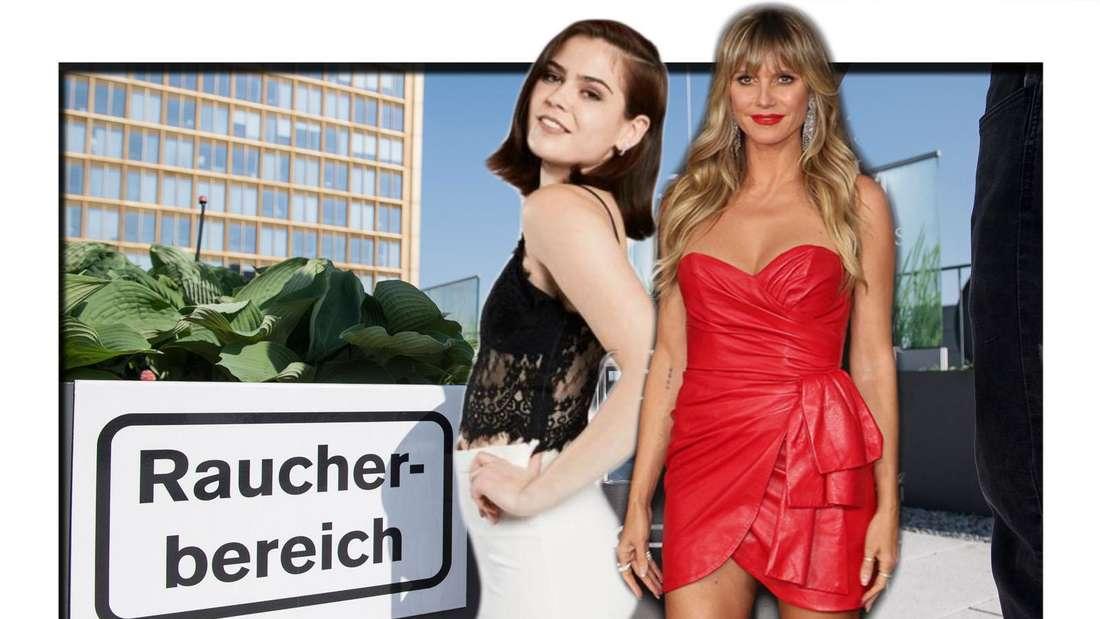 Fotomontage: GNTM-Kandidatin Linda und Heidi Klum vor Raucherbereich