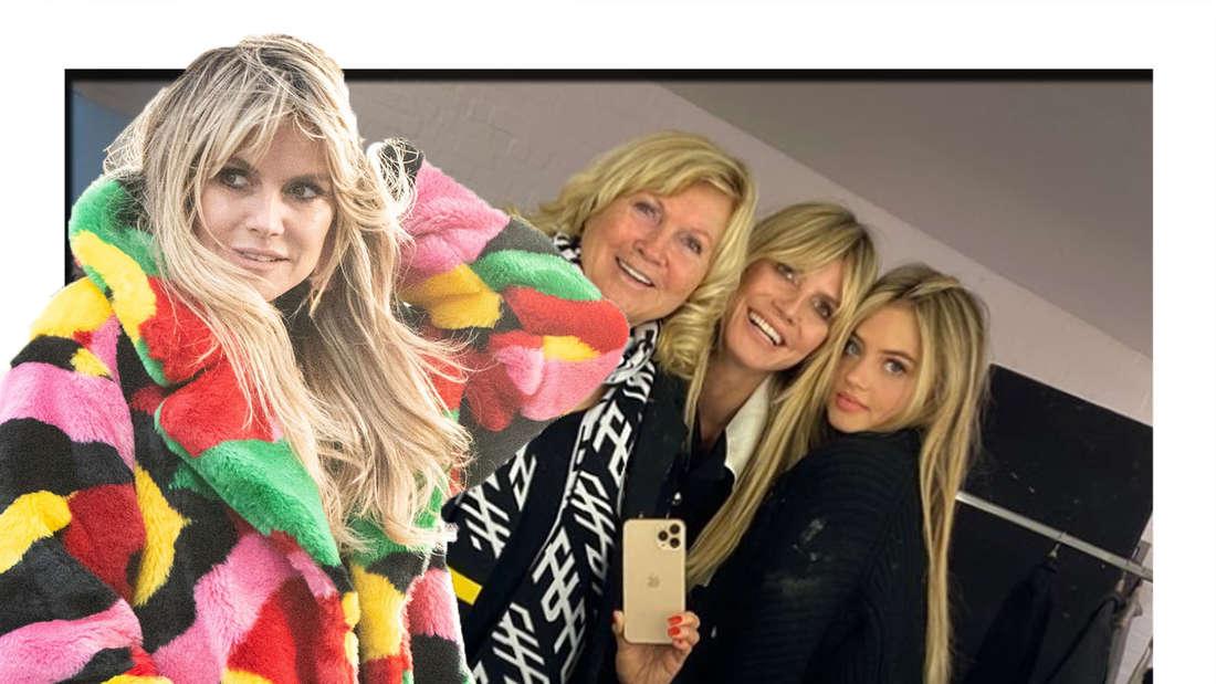 Heidi Klum schaut in die Kamera - im Hintergrund sieht man sie gemeinsam mit ihrer Tochter und ihrer Mutter.