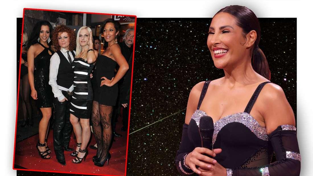"""""""Let's Dance""""-Teilnehmerin Senna Gammour vor einem Sternenhimmel neben der Girlgroup No Angels (Fotomontage)"""